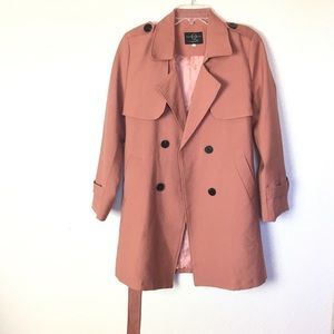 'The Heart YMS and Her' Salmon Peach Trench Coat L